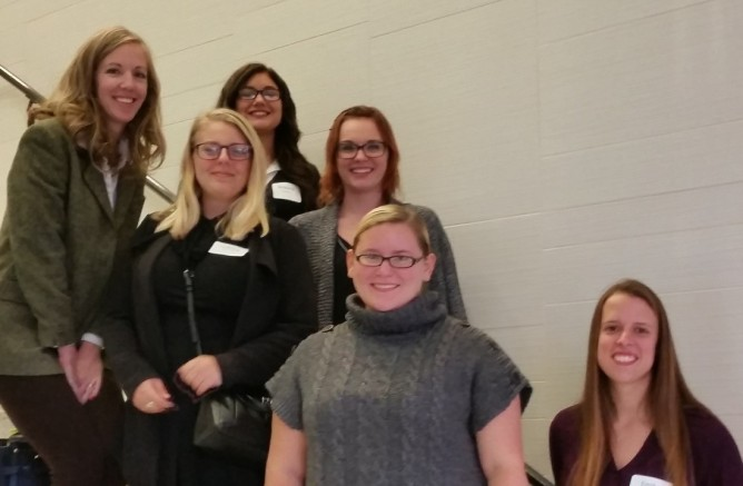Hilbert attendees at Penn-York, from left: Dr. Caitlin Szalkowski with presenters LeAnna Nemeth, Brianna Guarino, Samantha Motak, Jennifer Robinson, Emily Speidel. Not pictured: Dr. Ed Pristach, Dr. Amy Smith, Cameron McLeod, Vanessa Enciso, and Nautica McCoy.